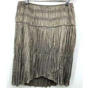 Sundance Skirt Ruffle Pleated Ruched Size 6 Taupe
